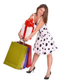Young girl with gift bag and gift box. — Stock Photo