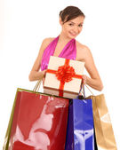 Woman with gift box and bow. — Stockfoto