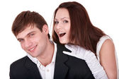 Couple of girl and man. Love. — Stock Photo