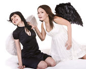 Group girl angel white and black. — Stock Photo