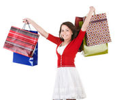 Grup alışveriş çantası tutan kız. — Stok fotoğraf