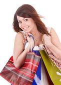 Girl holding group shopping bag. — Stock Photo