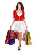Nákupní holka s skupiny bag. — Stock fotografie