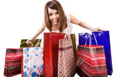 Girl with group of shopping bag . — Stockfoto