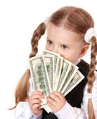 Sad child with money dollar. — Stock Photo