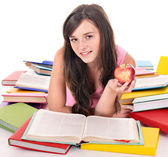 Girl reading pile colored book. — Stock Photo