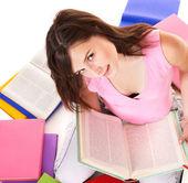 Girl reading open book . — Stock Photo