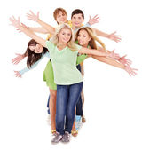 Groep van jonge op wit. — Stockfoto