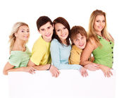 Groupe de bannière heureux holding. — Photo