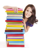 Girl with stack color book . — Foto Stock