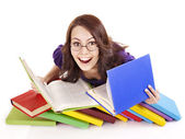 Girl in glasses with stack book . — Foto de Stock