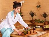 Bamboo massage at spa. — Stock Photo