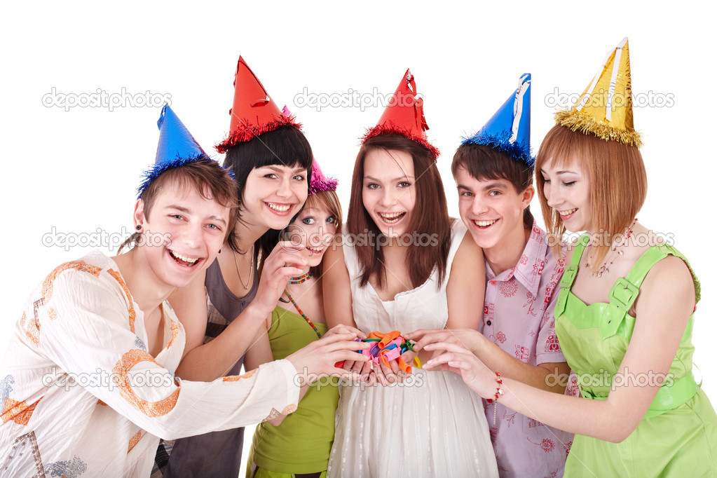Group of teenagers celebrate birthday. Isolated. — Stock Photo #5736471