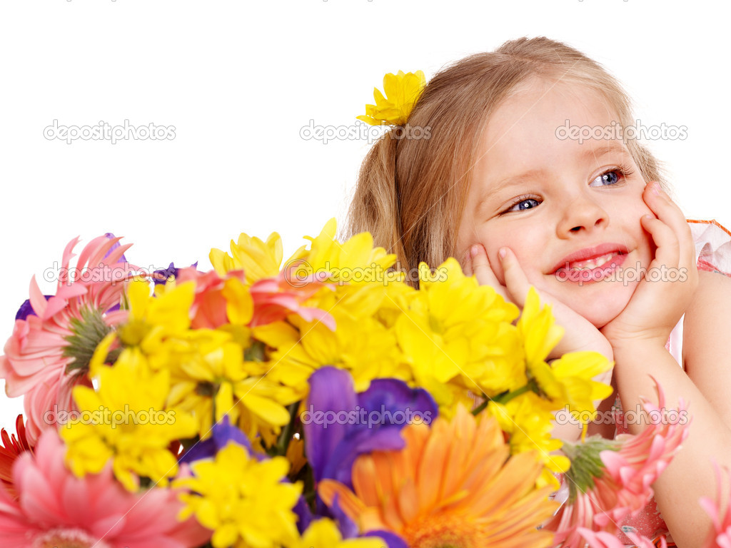 Happy child holding flowers stock image