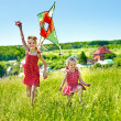 Kids flying kite outdoor. — Stock Photo