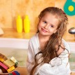 Kid washing in bath. - Stock Photo