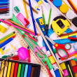 Background of school supplies. - 图库照片