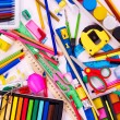 Background of school supplies. — Lizenzfreies Foto