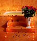 Interior of sauna with candle. — Stock Photo