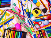 Background of school supplies. — Stock Photo