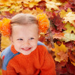 Girl child in autumn orange leaves. - Stock Photo