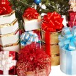 Group of  gift box by christmas tree. — Lizenzfreies Foto