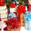 Group of  gift box by christmas tree. — Stock Photo