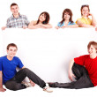Group of happy with banner. — Stock Photo #5972716