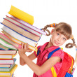 Child with pile of books. - Stockfoto