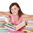 Girl with pile colored book . - Stockfoto