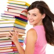 Girl with pile color book . - Stockfoto