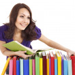 Girl with stack color book . - Stockfoto