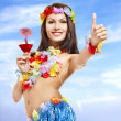 Young woman in costume of hawaii. — Stock Photo #5972934