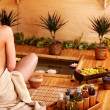 Bamboo massage at spa . - Stock Photo