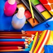 Close up of school supplies. - Stock Photo