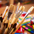 Close up of art supplies. - Stok fotoğraf
