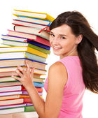 Girl with pile color book . — Stock Photo
