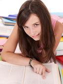 Girl reading open book . — Foto Stock