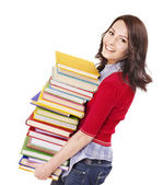 Girl with pile color book . — Stockfoto