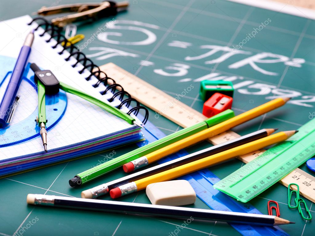 School office supplies  including board. — Stock Photo #5973004