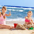 Kids playing on beach. — Stock Photo