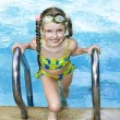 Girl in goggles leaves pool. - Foto de Stock