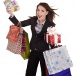 Business woman with money, gift box and bag. — Stock Photo