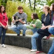 Group of in city park listen music. — Stock Photo #6101816