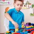 Child play construction set at home. — Foto Stock