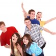 Group of happy young with hand up. — Stock Photo