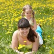 Mother with daughter in outdoor. — Stock Photo