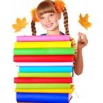 Girl holding pile of books. — Stock Photo #6101929