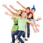 Grup genç parti şapkalı — Stok fotoğraf