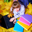 Royalty-Free Stock Photo: Kid in autumn orange leaves with laptop.